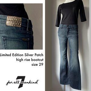 7FAM Limited Edition Silver Patch bootcut jeans